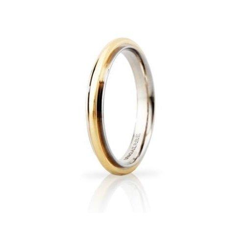 Fede Nuziale UNOAERRE Andromeda Slim 3mm Oro giallo bianco Brillanti Promesse