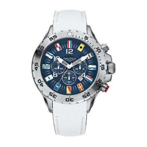 Orologio Nautica da uomo A24514G Bandierine Cinturino in pelle bianco
