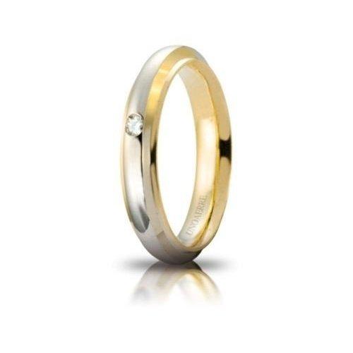 Fede Nuziale UNOAERRE Cassiopea con diamante Oro giallo bianco Brillanti Promesse
