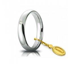 Fede Nuziale Unoaerre Comoda 4 mm Oro bianco con diamante