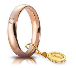 Fede Nuziale Unoaerre Comoda 4 mm Oro rosa con diamante