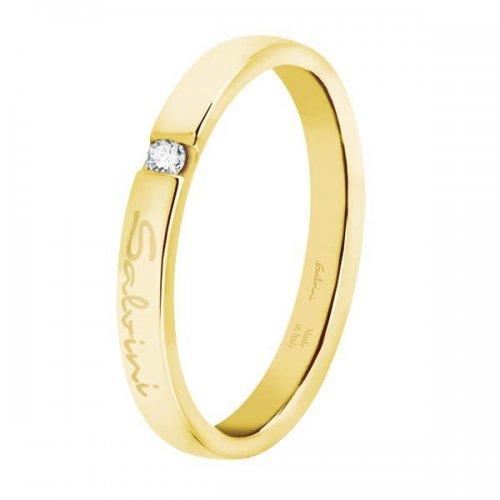 Fede nuziale Salvini in oro giallo con diamante collezione First Date