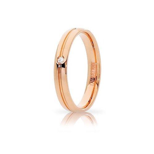 Fede Nuziale Unoaerre Lyra Oro rosa con diamante Brillanti Promesse