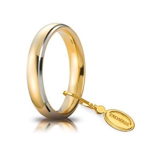 Fede Nuziale Unoaerre Comoda 4 mm Oro giallo bordi bianchi