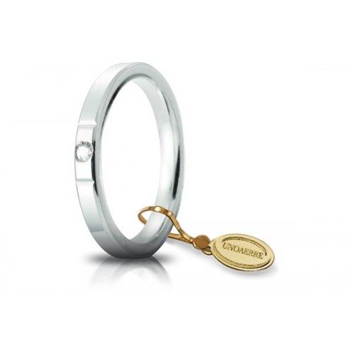 Fede Nuziale Unoaerre Cerchi di Luce 2,5 mm Oro Bianco con diamante