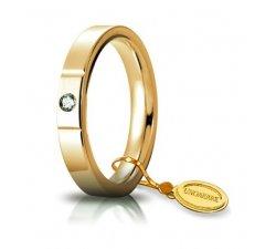 Fede Nuziale Unoaerre Cerchi di Luce 3,5 mm Oro Giallo con diamante