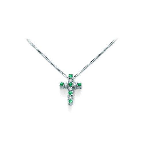 Collana croce Yukiko in oro con diamanti e smeraldi CLD3563Y