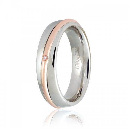 Fede Unoaerre modello Saturno Oro rosa e bianco con diamante Collezione 9.0