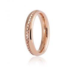 Fede Nuziale Unoaerre modello Infinito oro rosa con diamanti Collezione 9.0