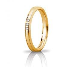 Fede Nuziale Unoaerre Orion slim 3 diamanti Oro giallo Brillanti Promesse