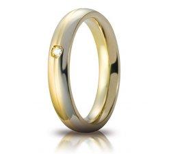 Fede Nuziale Unoaerre modello Eclissi con diamante Oro bicolore
