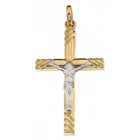 Croce da uomo in Oro Giallo e Bianco 803321713032