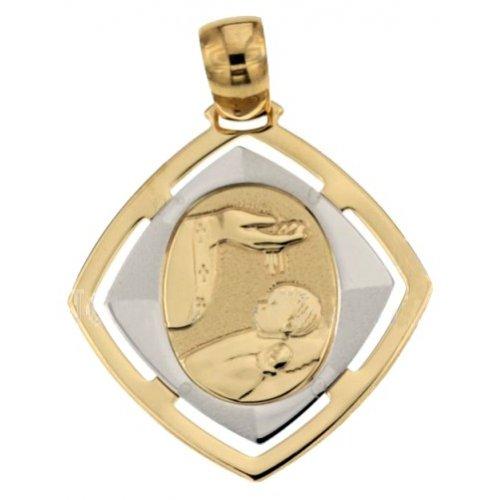 Medaglia Ciondolo da Battesimo Oro Giallo e Bianco 803321710090