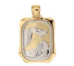 Medaglia Ciondolo da Battesimo Oro Giallo e Bianco 803321700929