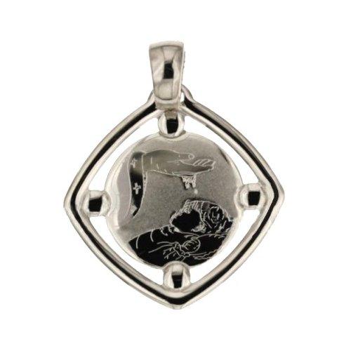 Medaglia Ciondolo da Battesimo Oro Bianco 803321714902