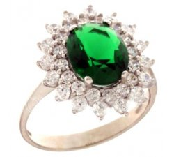 Anello Donna Oro Bianco Pietra Verde 803321732005