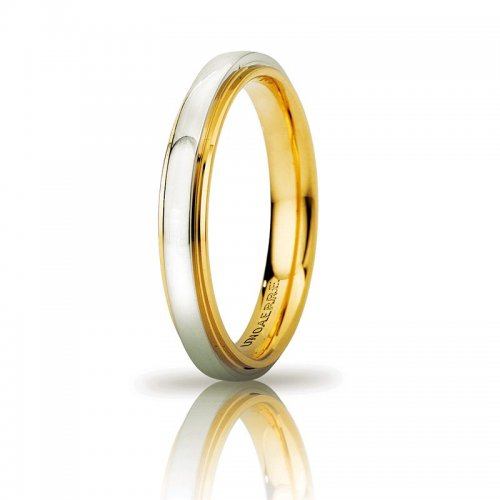 Fede Nuziale UNOAERRE Cassiopea Slim 3mm Oro giallo bianco Brillanti Promesse