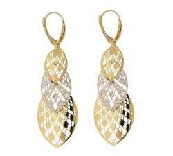 Orecchini Lunghi Donna in Oro Bianco e Giallo 803321735389