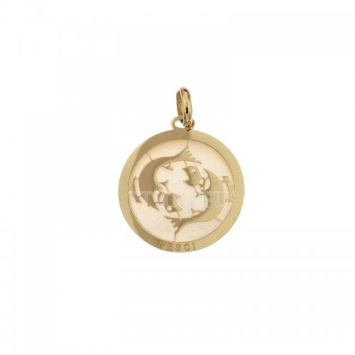 Ciondolo Segno Zodiacale Pesci in Oro Giallo 803321733012